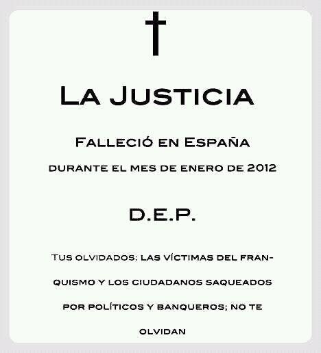 #ApoyoAGarzón La justicia falleció en España en enero de 2012
