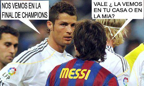 Cristiano Ronaldo y Messi en la final de la Champion League 2012