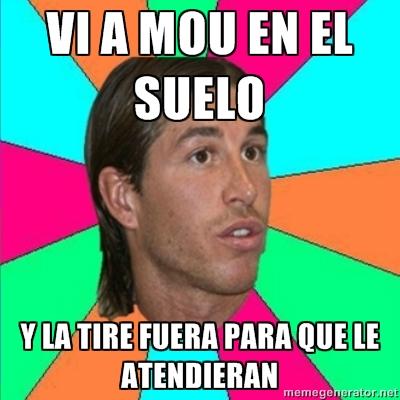Sergio Ramos tiró fuera para que atendieran a Mourinho
