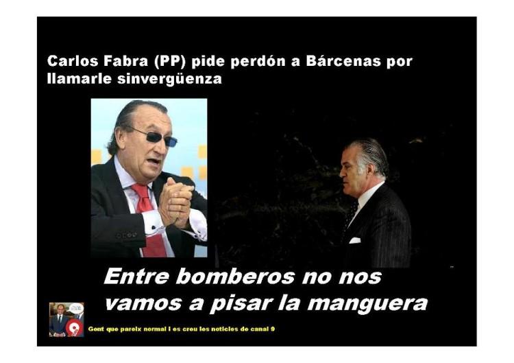 Fabra pide perdón a Bárcenas