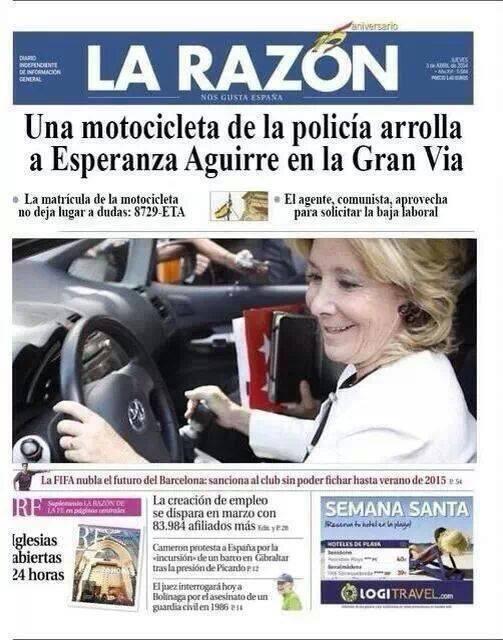 Esperanza Aguirre es noticia en LA RAZON